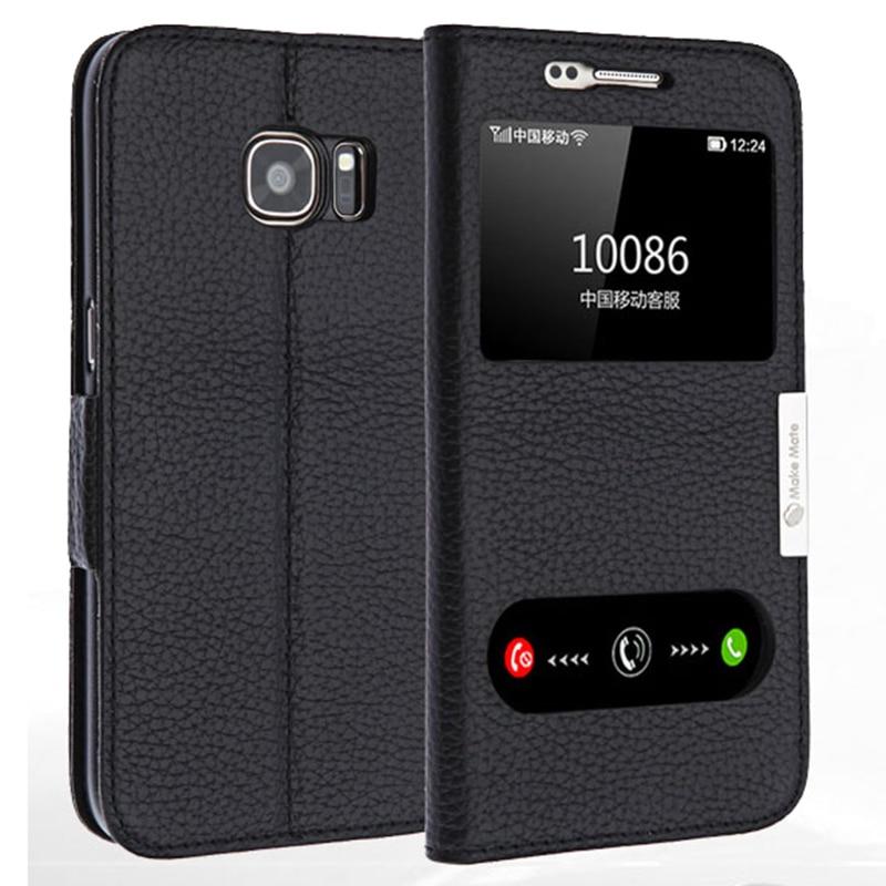imágenes para Lujo vista ventana genuino cubierta de cuero del caso del soporte para Samsung Galaxy S7 borde G9350 Teléfono cubierta de la bolsa