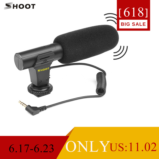 SHOOT XT-451 Portable Condenser Stereo Microphone Mic with 3.5mm Jack Hot Shoe Mount for Canon Sony Nikon Camera Camcorder