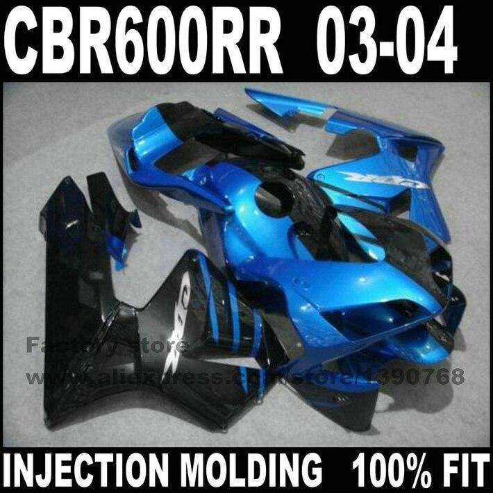 Road/race Injection motorcycle part for HONDA CBR 600 RR 2003 2004 CBR600RR fairings set CBR600 03 04 blue black ABS fairing kit