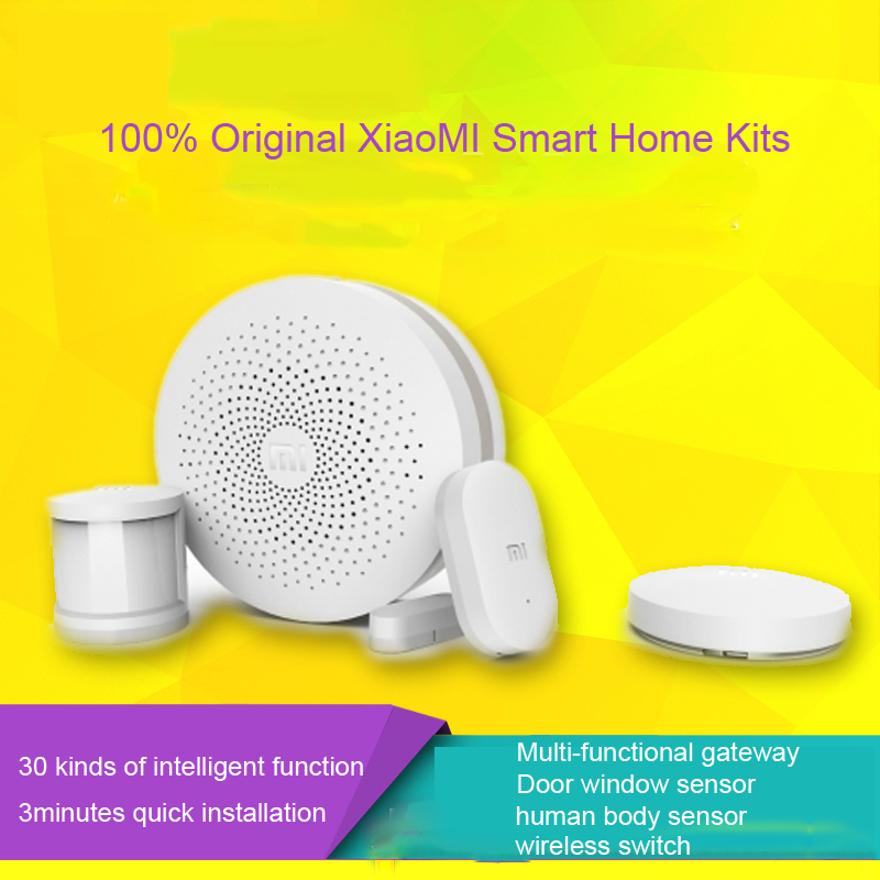 100%Original New XiaoMi Multifunction Gate Way Wireless Remote Safe Door/Window Sensor Xiao mi Smart Home Kit Intelligent Suite original xiaomi smart home kit gateway door window sensor human body sensor wireless switch multifunctional smart devices sets