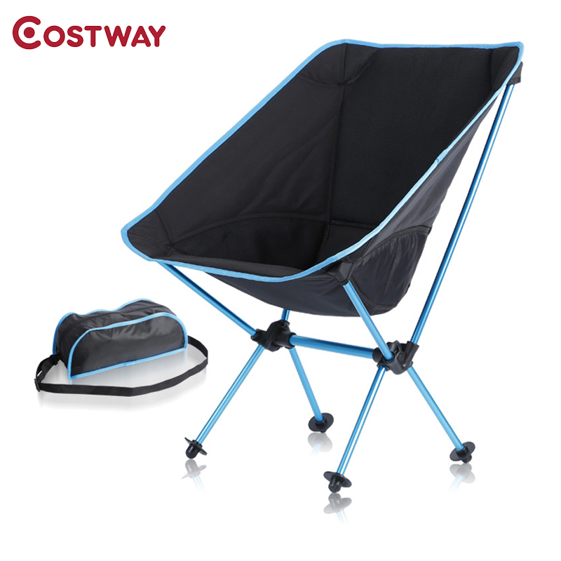 COSTWAY Outdoor Camping Folding Chair Oxford Cloth Fishing Chair Ultra Light Portable Leisure Beach Chair W0213 outlife ultra light folding fishing chair seat for outdoor camping leisure picnic beach chair other fishing tools z40
