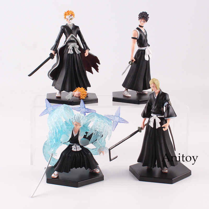 Bleach Kurosaki Ichigo Kuchiki Byakuya PVC Action Figure Model Colletible Toy Doll 4pcs/set  10~12.5cm