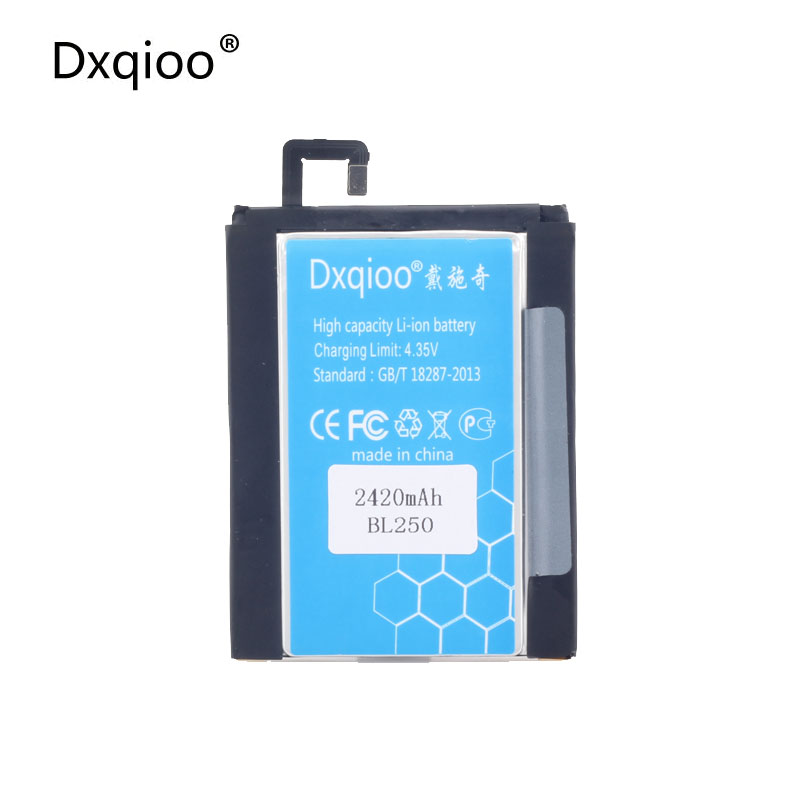Dxqioo Mobile phone battery fit for lenovo VIBE S1 S1c50 S1a40 BL250 2420mah batteries