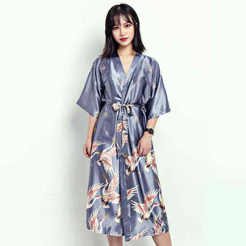 0aee5bc520 Summer Sexy Women Satin Nightdress Gown Chinese Bride Wedding Robe Dress  Vintage Kimono Yukata Bath Nightgown Plus Size Pajamas