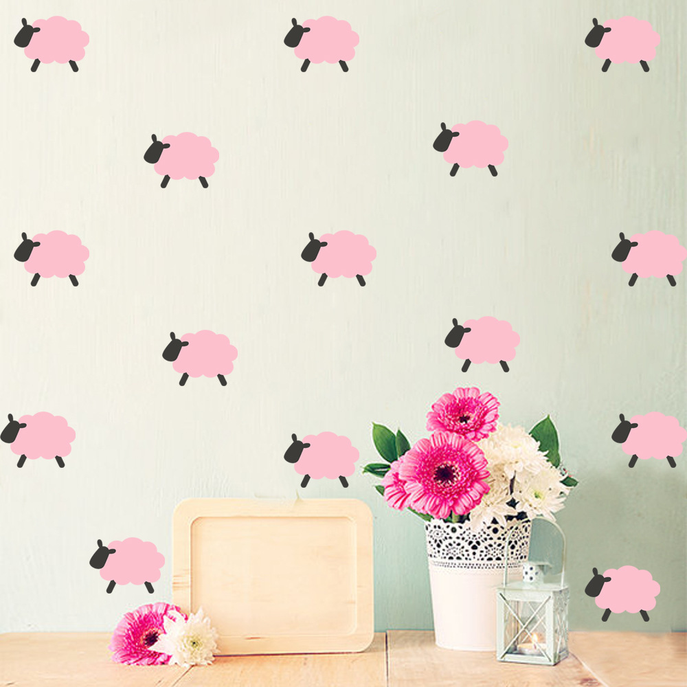 9pcs Lot 3D Wallpaper Sheep Pink Animals Simple Girl Room Wall Stickers Children Dorms Bedroom Decoration Murals In Wallpapers From Home Improvement