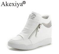 Akexiya Hot Sale New Wedge Sneakers Hidden Heels Women's Elevator Running Shoes With Zipper Black White Silver Rhinestone