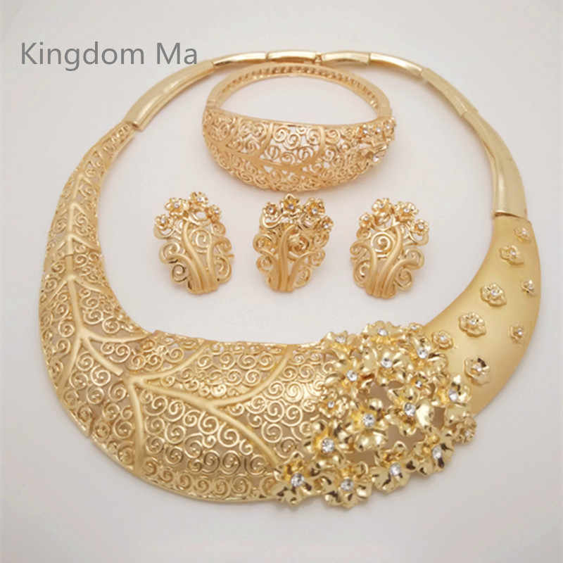 Kingdom Ma Nigerian Wedding Bridal African Gold Color Jewelry Set Dubai Imitated Crystal Necklace Bracelet Earrings Ring Sets