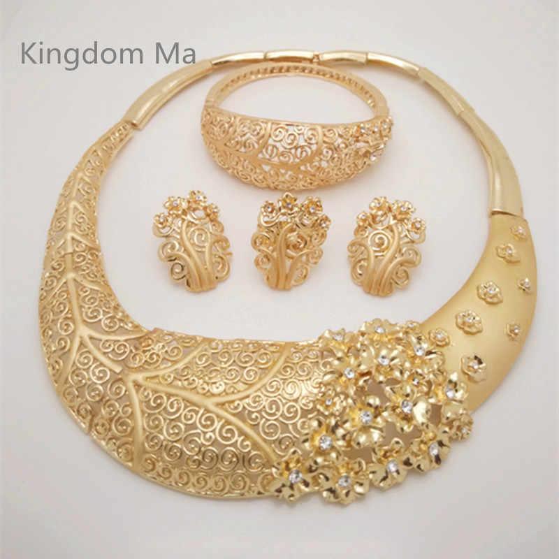 Königreich Ma Nigerian Hochzeit Braut Afrikanische Gold Farbe Schmuck-Set Dubai Imitiert Kristall Halskette Armband Ohrringe Ring Sets