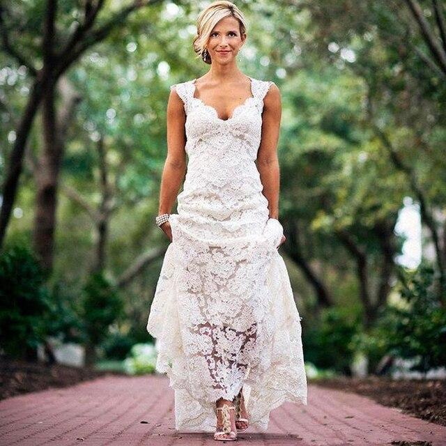Bastante Floral Rústico Encaje Vestidos de Novia 2017 V Cuello Cap ...