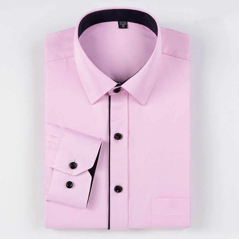 2017真新しい男性シャツ長袖男性ドレスシャツファッションスリムフィット無地ビジネスカジュアルシャツ男服M599