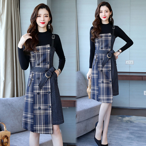 Fashion Two Piece Set Women Dress 2018 Autumn And Winter Denim Asymmetrical Patchwork Dress Women Plaid