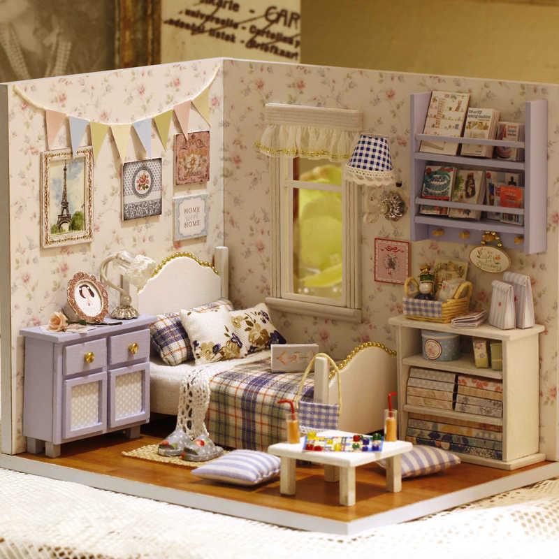 מודל DIY בובת בית Casa מיניאטורי בית בובות עם רהיטים LED 3D בית עץ צעצועים לילדים ביד מתנת H003 # E
