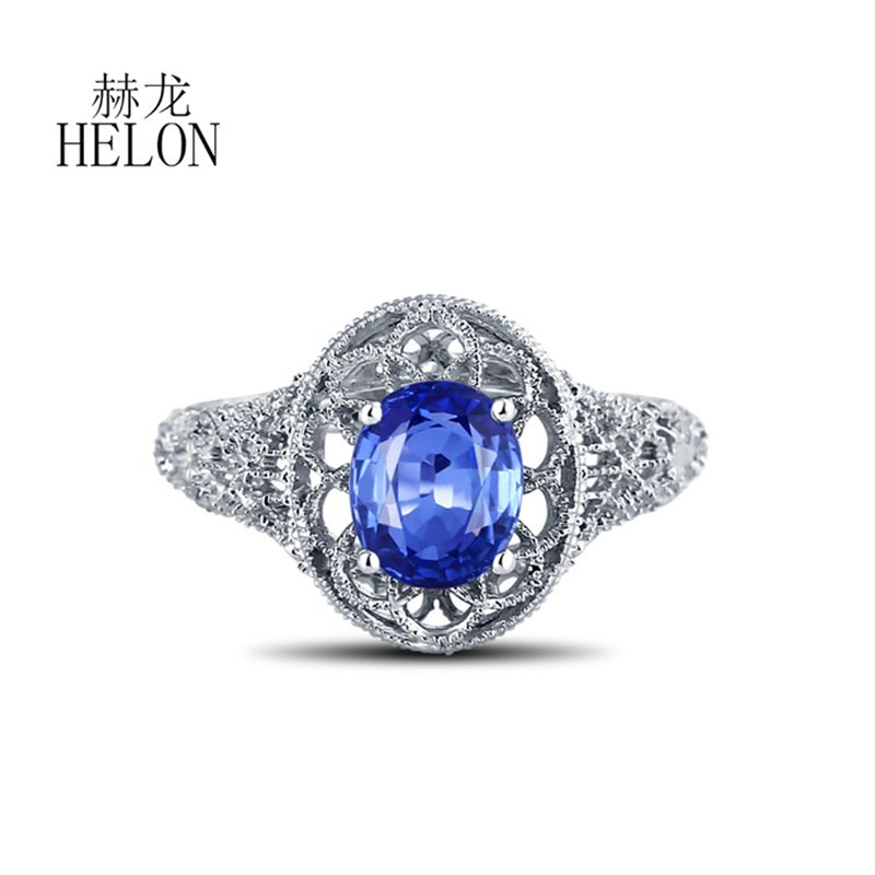 HELON Solid 18k White Gold Filigree Gemstone Women's Jewelry Ring 8X6mm Oval Cut Sapphire Art Deco Engagement wedding Fine Ring au750 white gold ring diamond oval cut sapphire ring in 18k solid gold for sale wu261