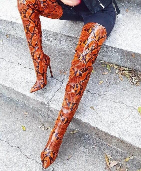 select for latest purchase cheap size 7 Sexy Snake Skin Boots Pointed Toe Thin Heels Thigh High Boots for Plus Size  Women Print Leather Over Knee Boots Winter