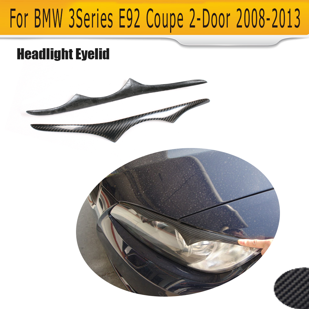 3 Series Carbon Fiber Front Headlight Cover Trim Eyebrows for BMW E92 M3 Coupe 2 Door 2008 - 2013 2PC free shipping carbon fiber headlight covers eyelids eyebrows fit for mazda 6 vi ruiyi 09 13