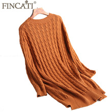 Sweater Dress 2017 Autumn Winter England Style Cashmere Blending Twist Cable Knitted Fluffy Knee Length Femme Dresses Vestidos(China)