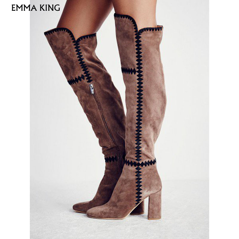 light_brown_suede_long_boots_chunky_heel_boots
