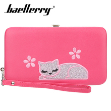 Baellerry Solid Cute Cat Embroidered Women Long Wallet Zipper PU Leather Rope Wallet Coin Pocket Card Holder Photo Holder Wallet baellerry men solid black long wallet pu leather zipper n rope wallet coin pocket card holder photo holder business wallet men
