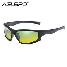 AIELBRO Classic Cycling Day Night Vision HD Sunglasses Men Women Driving Goggles Glasses UV400 Driver Sun