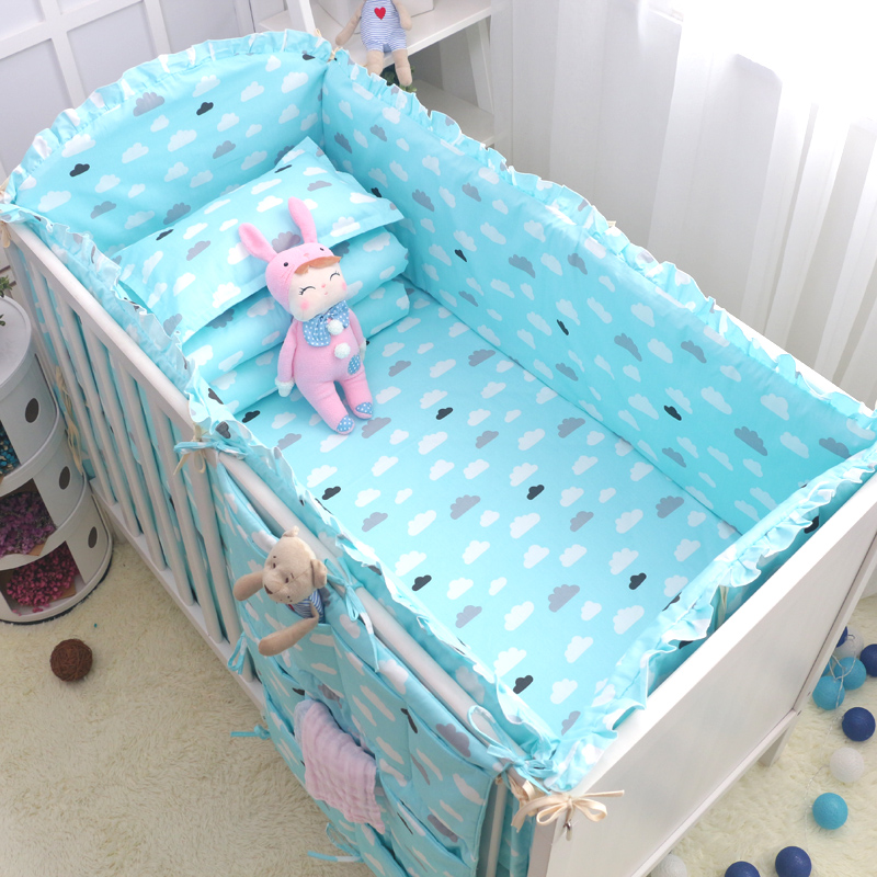 9pcs Cute Cloud Boys Girls Baby Bedding Set Cotton Crib Bedding Set Baby Cot Bed Bumpers Quilt and Pillow With Filling Bed Sheet boys girls favorite cotton bedding set baby bedding crib sets fast shipping and safety delivery beautiful cute baby bedding set