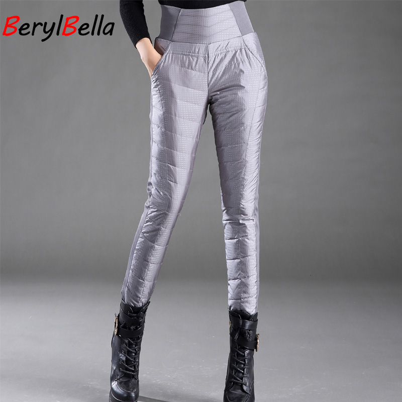 Casual Women White Duck Down Pants Winter Thick Warm Slim High Waist Pencil Pants For Women Plus Size Trousers Feme BerylBella