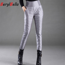 Casual mujer blanco pato abajo pantalones de invierno grueso caliente Delgado alta cintura lápiz pantalones para mujer talla grande Feme berylBella