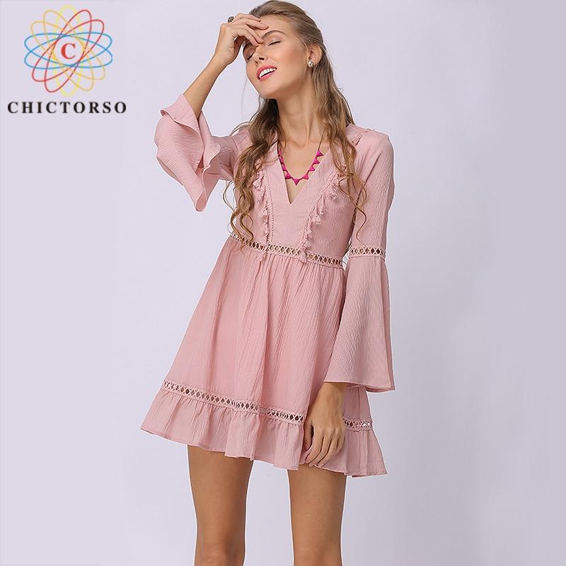 Chictorso V Neck Summer Dress Pink Fringe Skater Dress Long Sleeve Plus Size Boho Beach Dress Casual Ladies Dresses Mini Vestido
