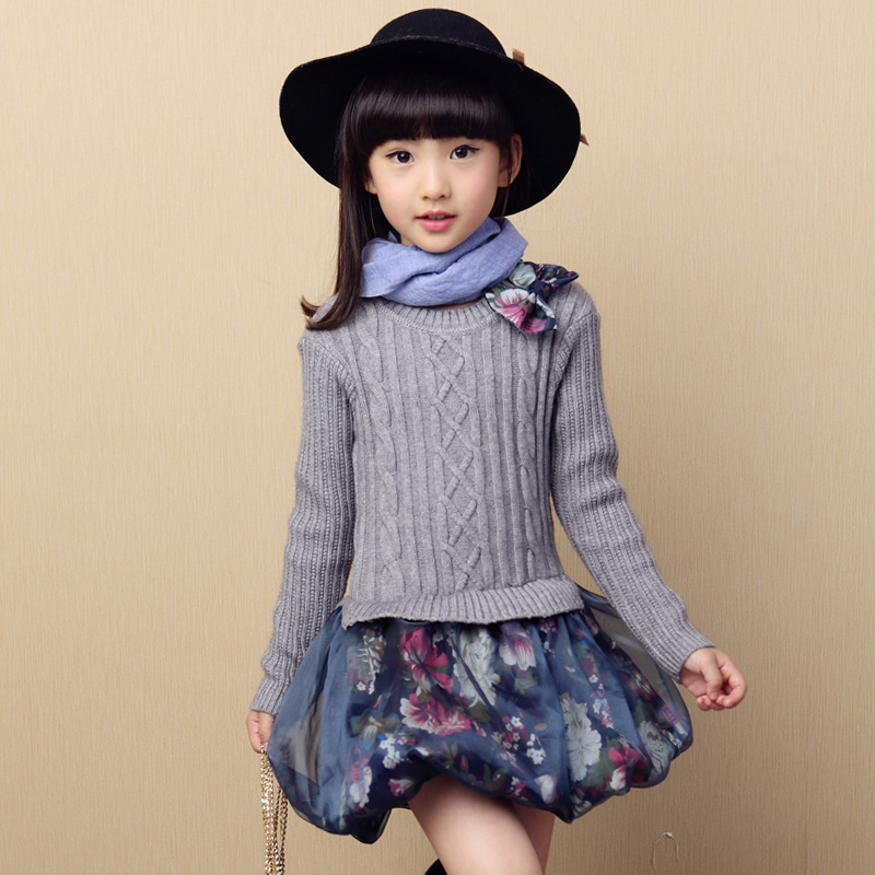 Back to School Outfits Kids Sweater Dress Spring Autumn Knitted Girls Dress Warm Teenage Princess Dress 10 12 Kids Girls Clothes readit kitting dress 2017 autumn winter warm vestidos white faux pearl beading collar chest black knitted dress female d2548