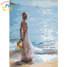 New framed digital oil painting by numbers diy home decoration craft paint on canvas unique gift picture girl at seaside J038(China)