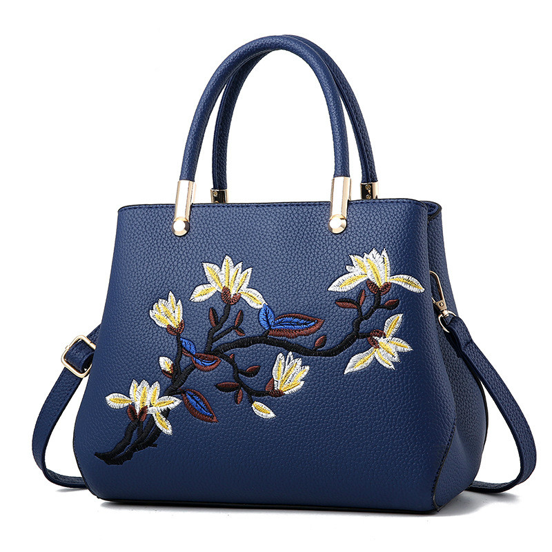 HOT 2017 New Arrival National Lady PU Leather Handbag Female Flower Embroidery Shoulder Bags Luxury Handbags Women Bag Designer 2015 new arrival color match leather lolita bag novelty shaped shoulder bag piano key handbag with embroidery and badge