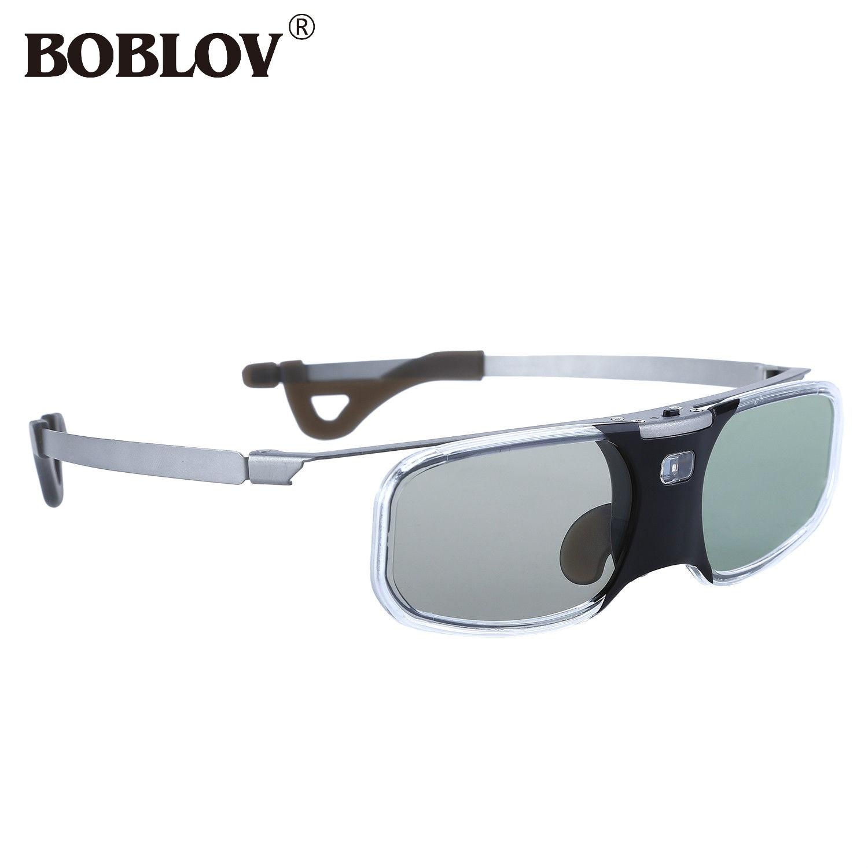BOBLOV RX-30 3D DLP-Link 96-144Hz Active Shutter Glasses 8M Rechargeable For DLP Link Projector sg08 dlp 3d shutter glasses for dlp link projector black