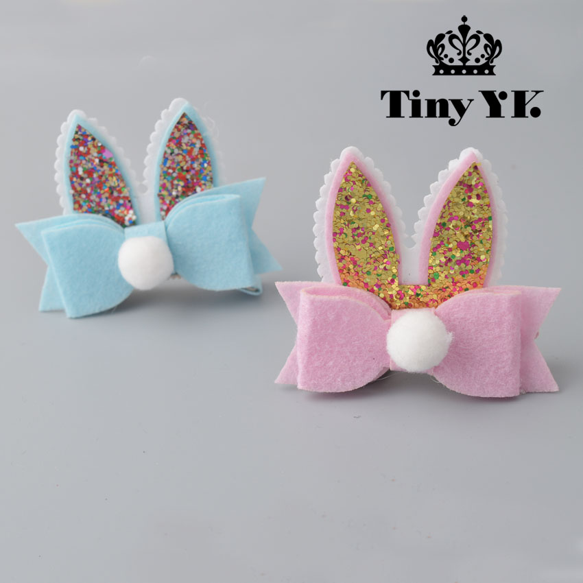 Beatiful Glitter Rabbit Ear Hair Clips Pink Grey Felt Bow Barrette with Pom Pom Cute Animal Ear Hairpin 2017 new fashionable cute soft black grey pink beige solid color rabbit ears bow knot turban hat hijab caps women gifts