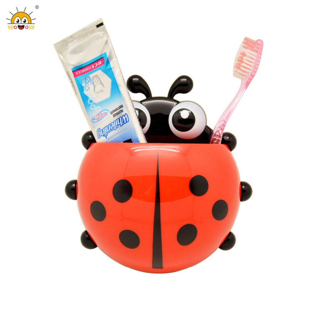 High Quality Ladybug Toothbrush Holder Cute Cartoon Insect ladybird Shape Bathroom Wall Suction Hooks Sets Tooth Brush Container in Bathroom Accessories Sets from Home Garden