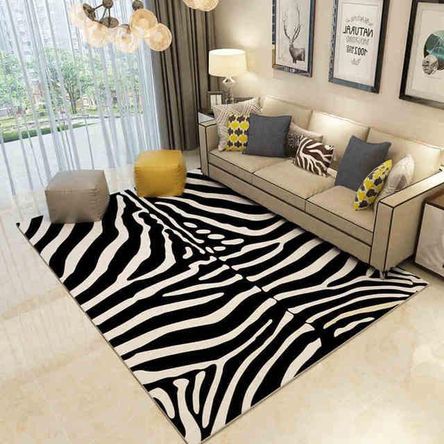 aliexpress.com : acquista nero bianco tappeti europa grande area ... - Tappeto Soggiorno Nero