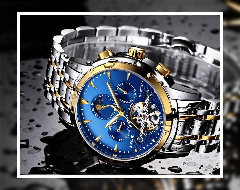 Lige relógios masculinos marca de luxo relógio