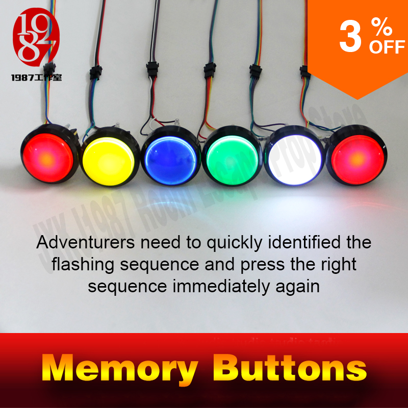 escape room prop memory button  fastly remember and catch the sequence of the flashing button  to run away from  mysterious room