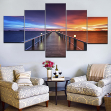 Canvas Prints Painting Wall Art Living Room Home Decor Lake Poster 5 Piece Sunset Glow Wooden Bridge Seascape Pictures Framework sunset wooden bridge waterproof wall tapestry