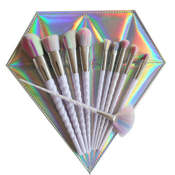 10pcs Thread White Handle Colorful Hair Makeup Brush Diamond Bag Face Eyeshadow Powder Foundation Eyebrow Make Up Brush Kit Tool