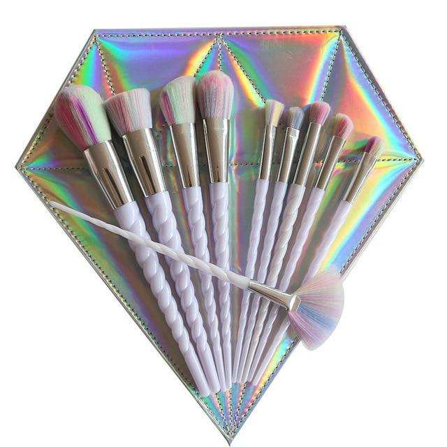 10pcs Thread White Handle Colorful Hair Makeup Brush Diamond Bag Face Eyeshadow Powder Foundation Eyebrow Make Up Brush Kit Tool