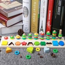 Деревянный Монтессори цифры геометрической формы познания соответствующие раннее развитие ребенка обучающие средства математика игрушка