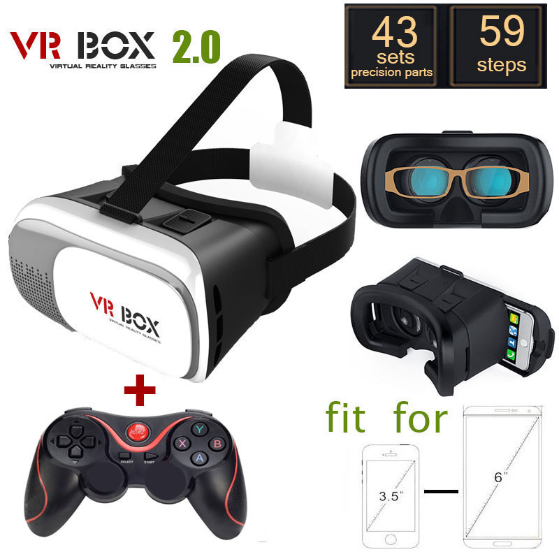 <font><b>VR</b></font> <font><b>BOX</b></font> <font><b>2.0</b></font> Version <font><b>VR</b></font> <font><b>Virtual</b></font> <font><b>Reality</b></font> <font><b>Glasses</b></font> + <font><b>Bluetooth</b></font> Wireless Mouse / Remote Control / Gamepad