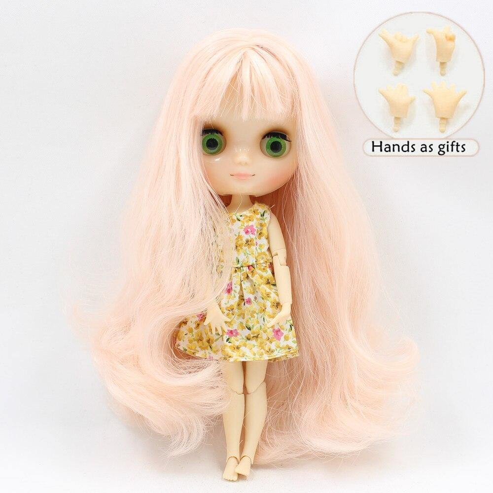 все цены на Free shipping Middie blyth Doll nude joint doll 210BL1059 wavy long hair with bangs pink Champagne hair 20cm онлайн