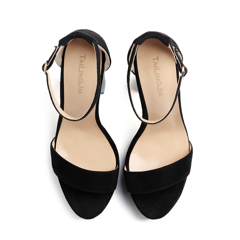 141f86e10aeb Black Platforms for Women Strappy Dress Heels Floral Block Heel Sandals  Ladies High Heel Ankle Strap Summer Shoes Big Size 2018-in High Heels from  Shoes on ...