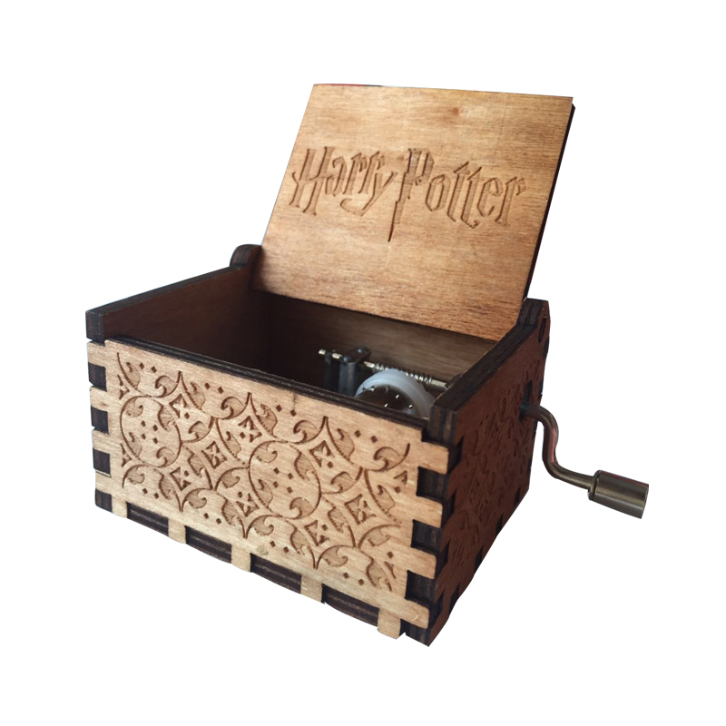Harry Potter Music box Antique Carved wooden hand crank Music box Game of thrones Music box for birthday gifts Kids favor gifts