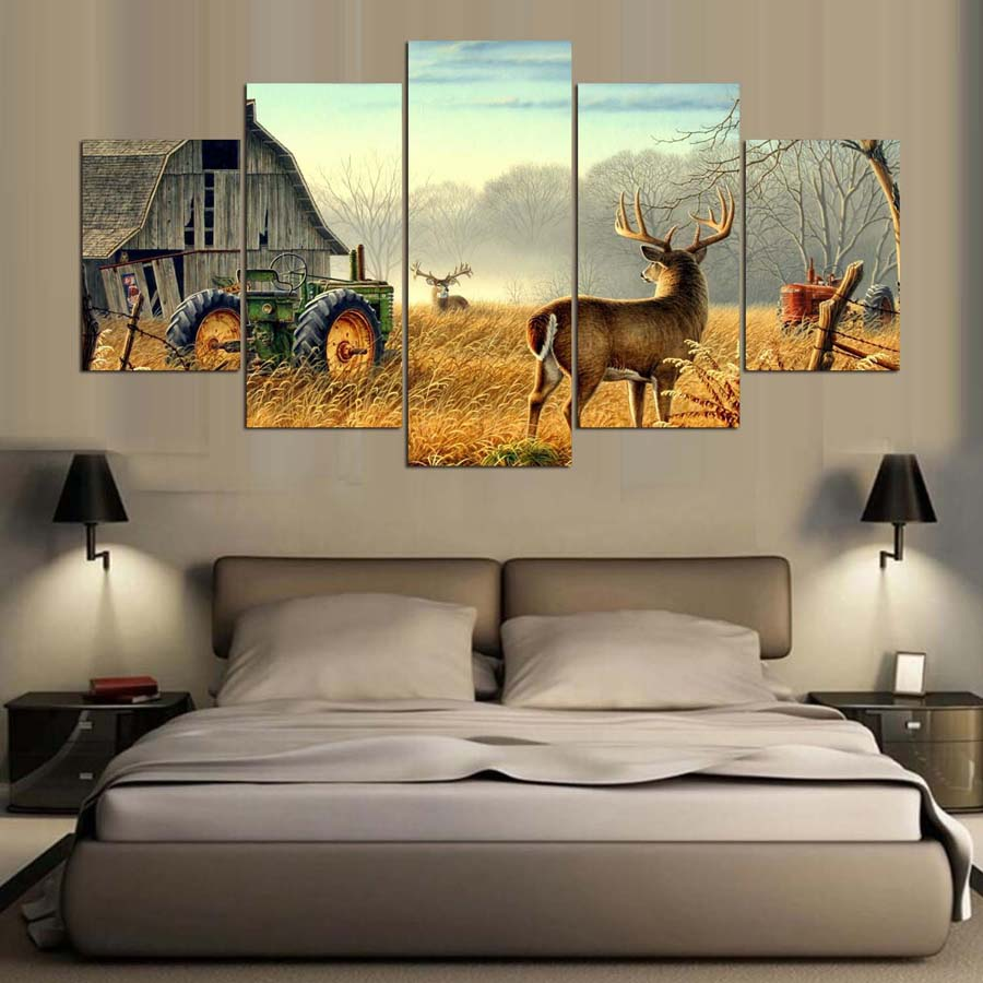 5 Piece Canvas Animal Whitetail Deers On Farm Wood House Tractor Canvas Picture Painting Decor Print Poster Wall Art Wd-1920