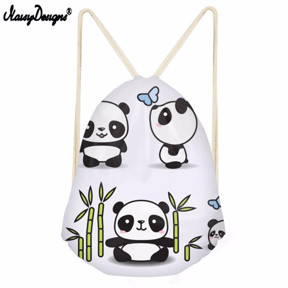 3D Cartoon Panda Pattern Printed Casual Men Small Drawstring Bag Girls Shoulder Bag Travel Mochila Kids