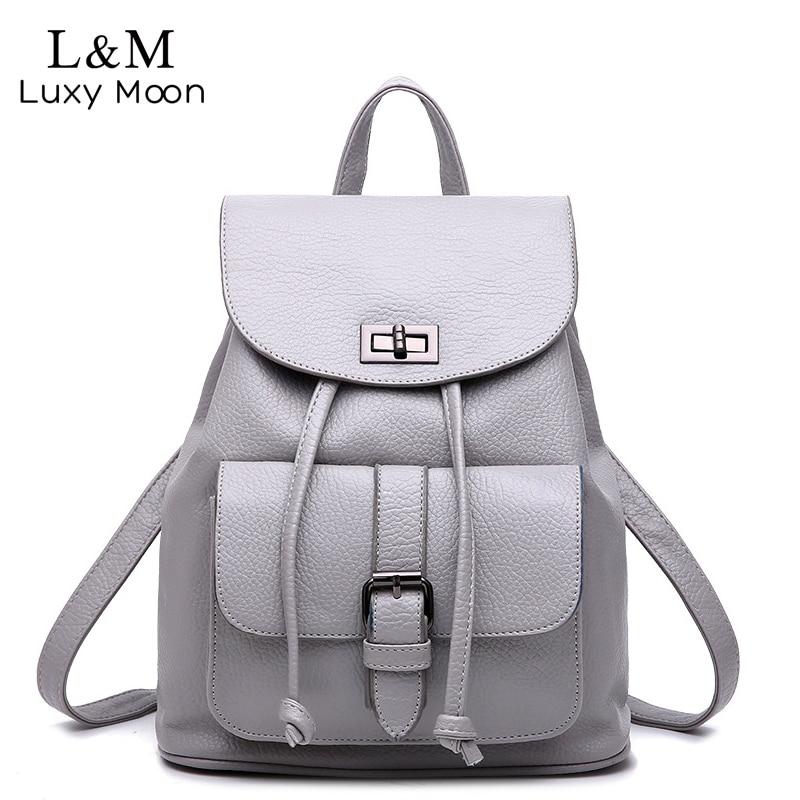 Women Solid Backpack Vintage Leather Backpacks Drawstring Black Rucksack Shoulder Bags For Teenage Girls School Bag