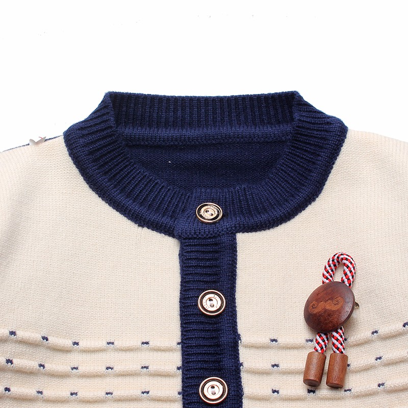 Boys Sweaters Print Cotton Top Knit Infant Outfit With Button Boy Corsage Outerwear Winter Warm Apparel Cardigan Knitted Clothes (5)