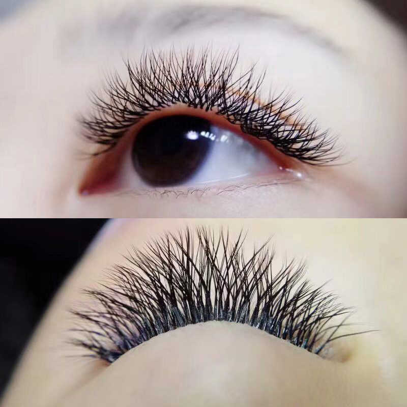 Caramel y-type eyelashes pre made volume fans Weaving eyelash extensions  Cross blossom Thick russian volume eyelash extensions