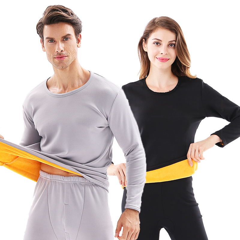 Winter Couple Warn Thermal Underwear Set For Women Men Layered Clothing Cashmere Velvet Thick Thermal Long Johns Plus Size XXXL